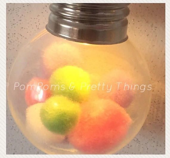 💟Super Cute Fairy Lights ~ 5 clear plastic bulbs filled with pastel coloured PomPoms. Length is approx 1.5m and they are battery operated. Perfect in the home or garden. Thank you for visiting my store💟xxx