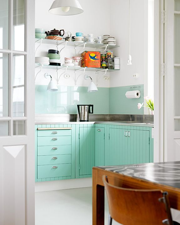 Sea Green Kitchen Cabinets Stainless Steel Counters White Open