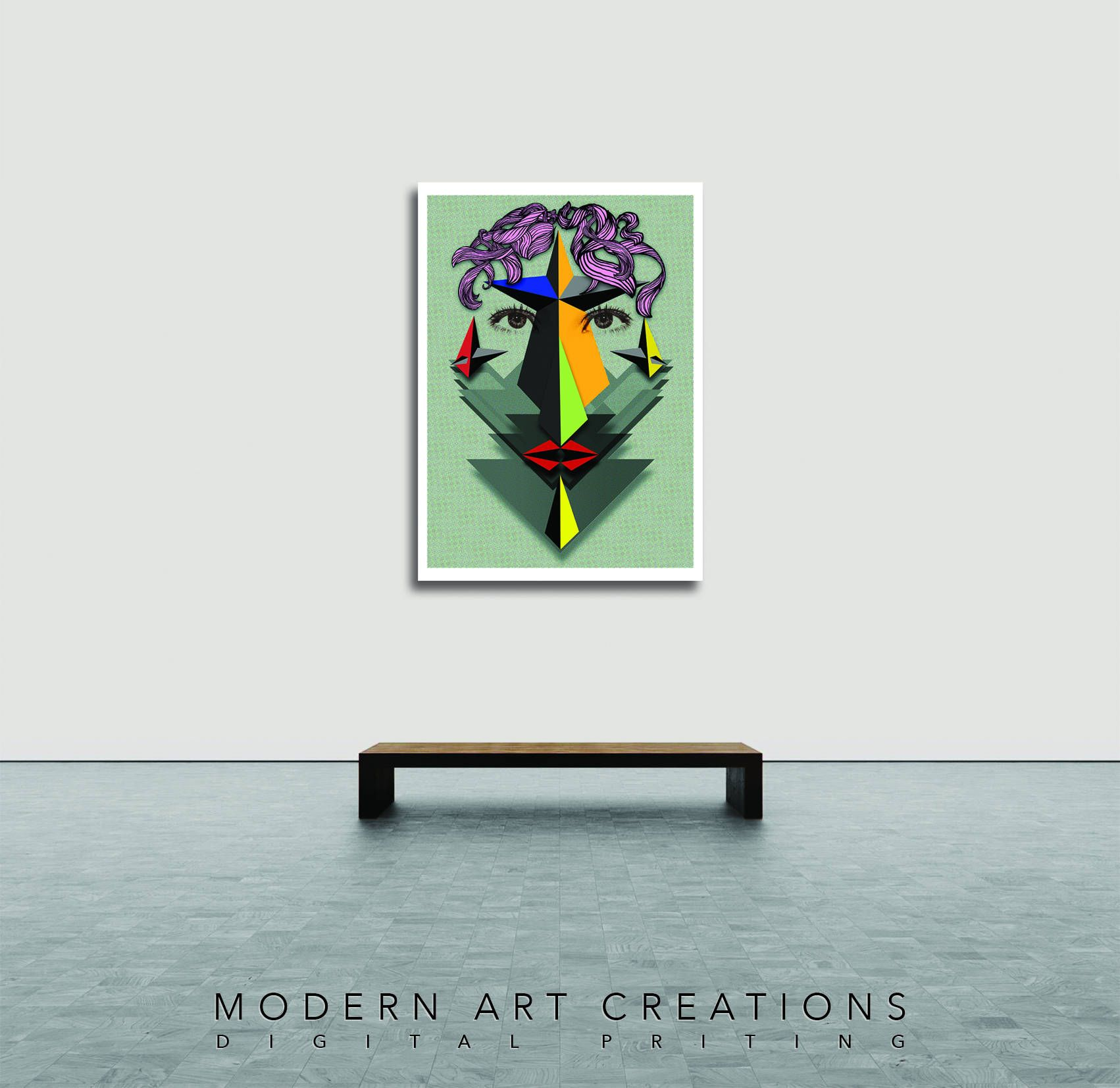 Pop art collage modern women gift women green poster decoration ideas girls decor large poster ideas for living room h70 x w50cm