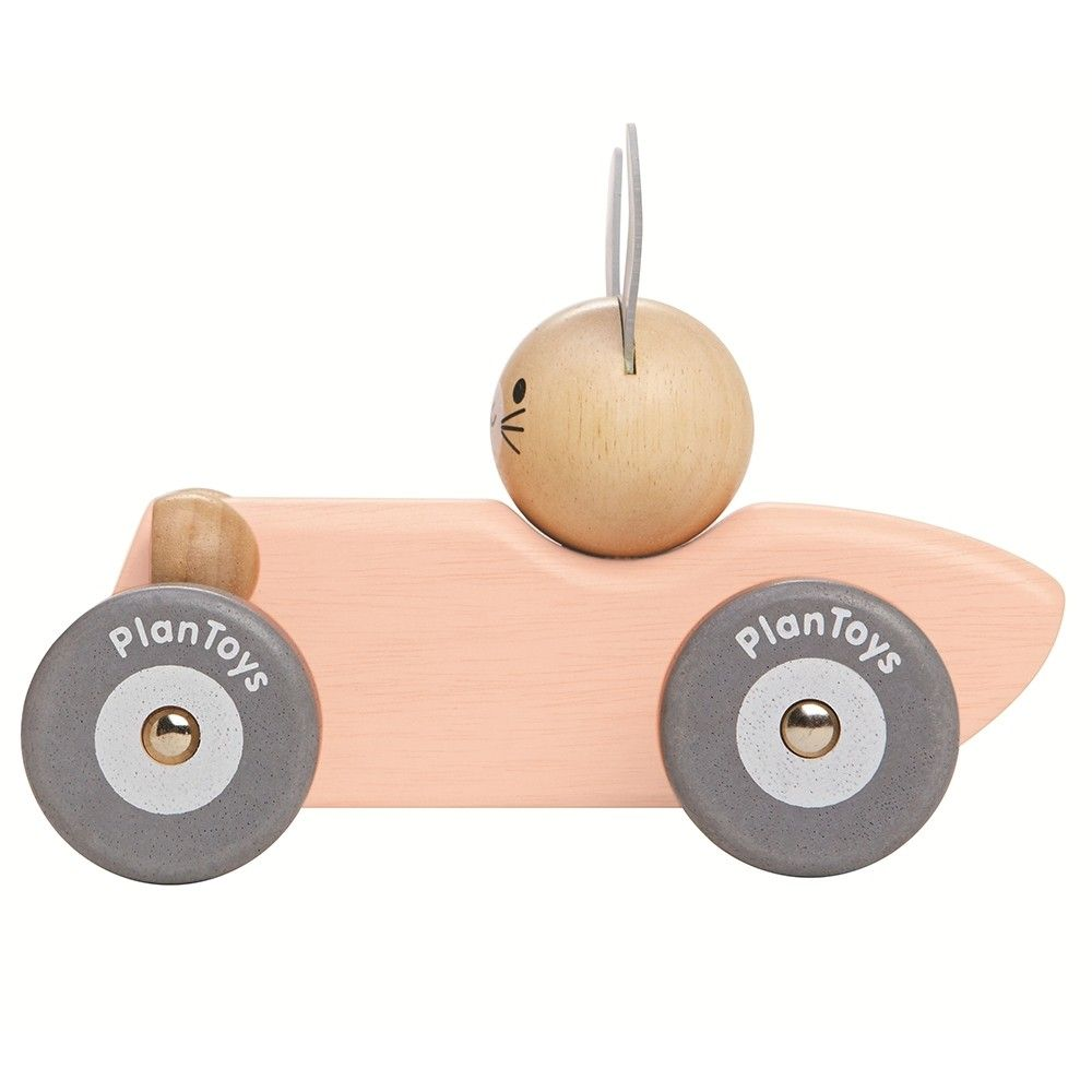 plan toys bunny racing car - peach | children's toys | bunny