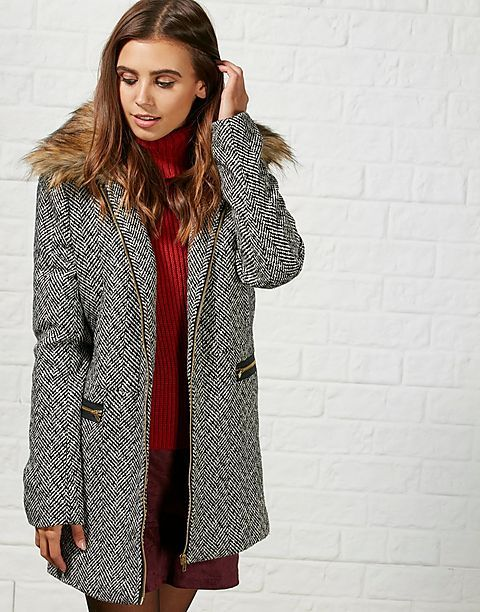 #ARKLOVES faux fur detail coats this season, perfect for gifting - the  Hearts and Bows Jana Faux Fur Trim Coat