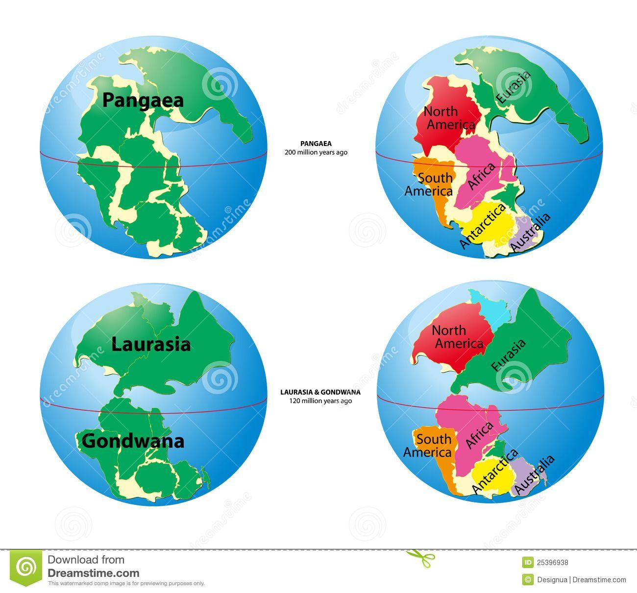 World Map Of Pangaea Laurasia Gondwana Royalty Free