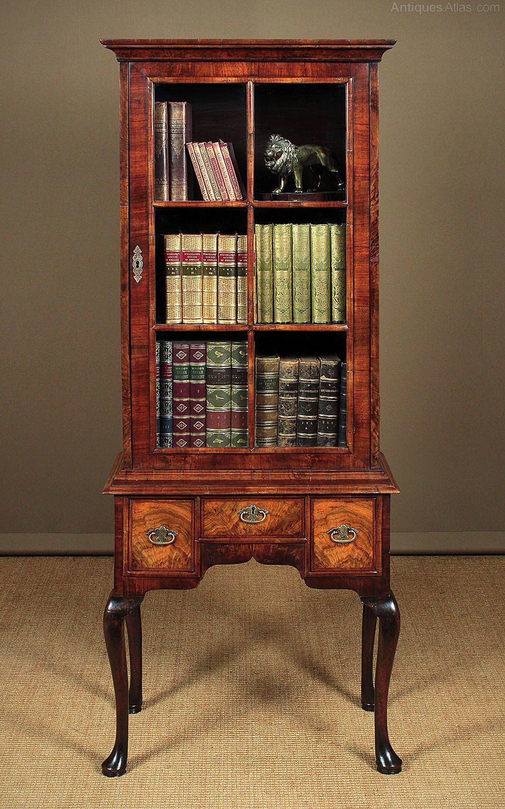 Small Queen Anne Bookcase On Stand C.1920 Queen anne
