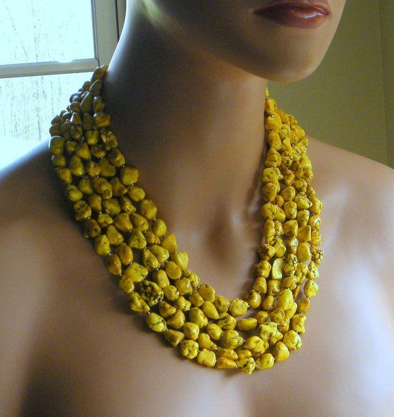 Yellow Magnesite Necklace, Yellow Statement Necklace, Yellow Necklace, Chunky Necklace on Etsy, $57.00