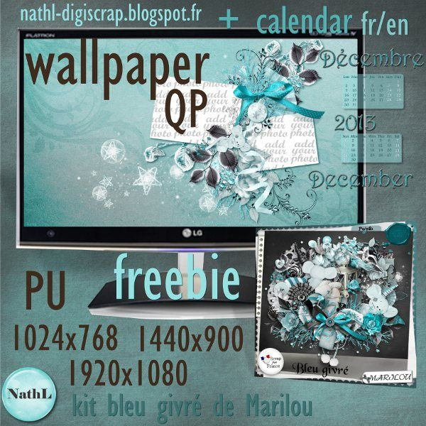 les scraps de NathL: free wallpaper QP et/and calendrier / calendar - décembre / december 2013 #wallpaper #QP #Christmas #Noël #digitalscrap