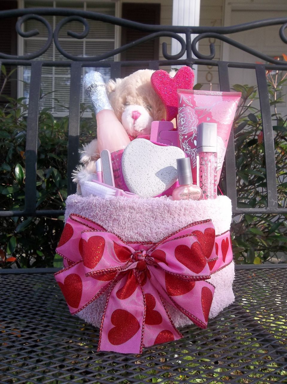 I Have For Your Consideration A Wonderful Spa Towel Cake Filled With All The Necessities Of Diy Valentines Gifts Valentines Day Baskets Valentine Gift Baskets