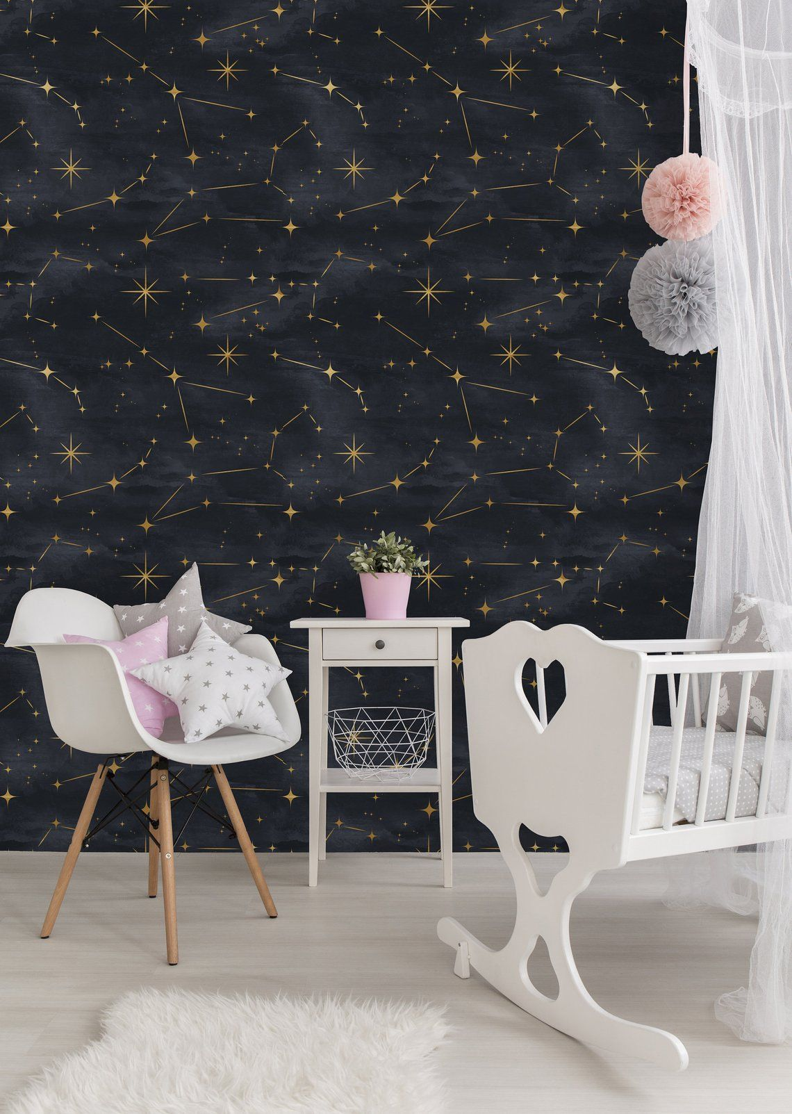 Removable Wallpaper Peel And Stick Wallpaper Self Adhesive Wallpaper Gold Stars On Black Background Removable Wallpaper Peel And Stick Wallpaper Home Wallpaper