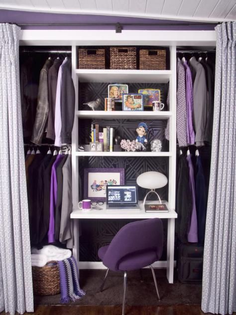 Purple Theme Closet Office Great Idea For Sons Walk In Closet To