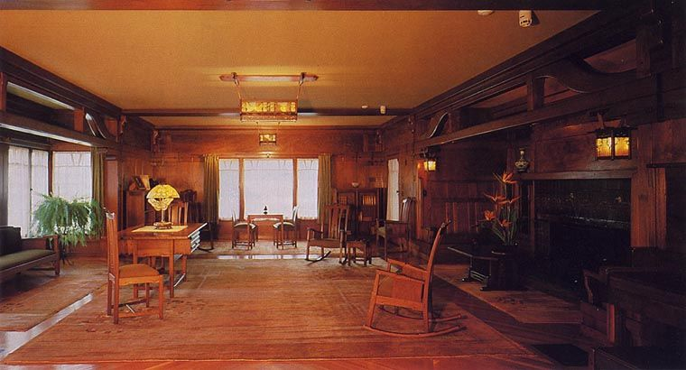 High Style Craftsman Architecture Greene And Greene Gamble House Rich Wood  Paneling, Elaborate Fixtures