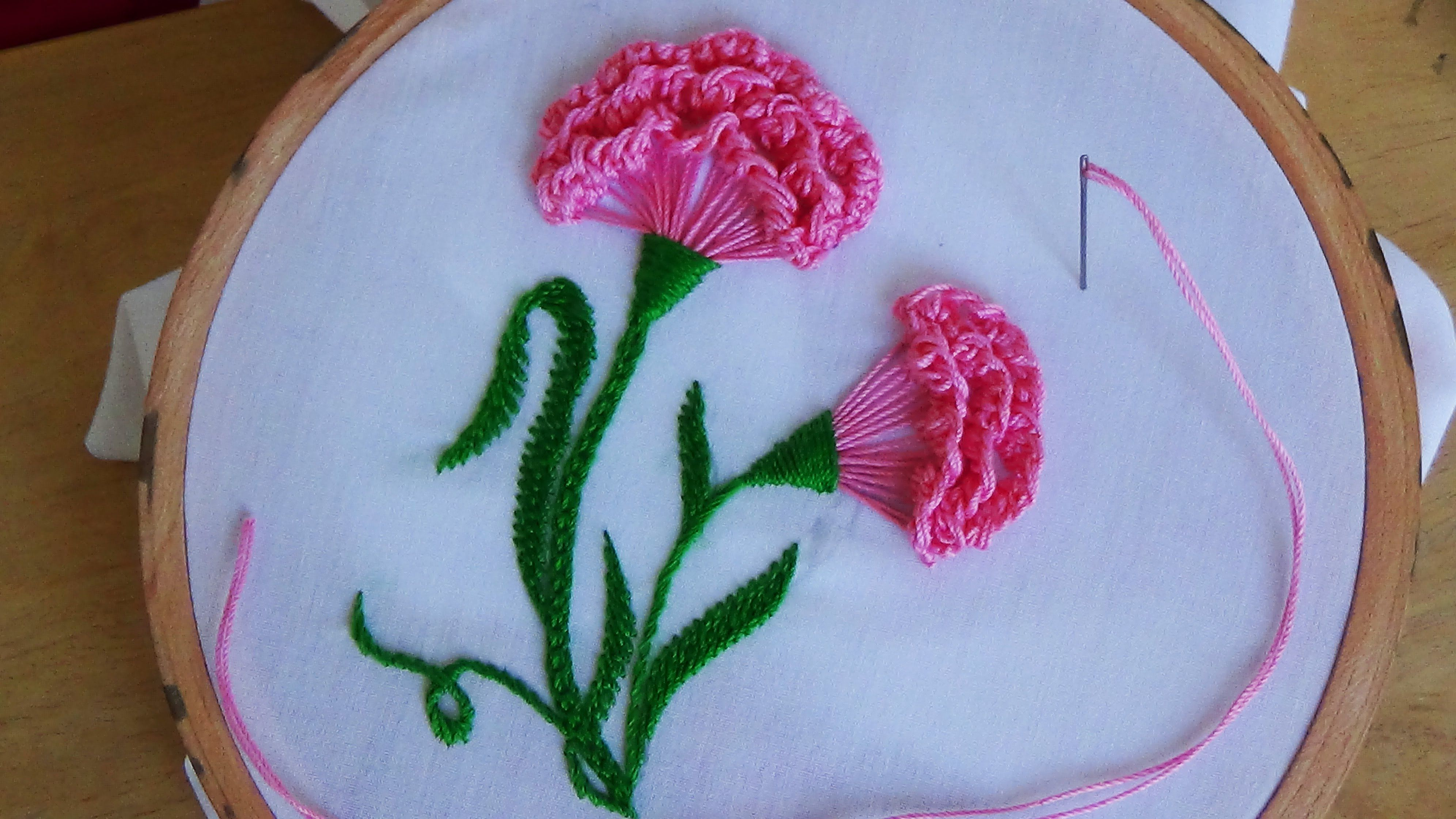 Hand Embroidery Carnation Flower Hand Embroidery Flowers Brazilian Embroidery Hand Embroidery Designs