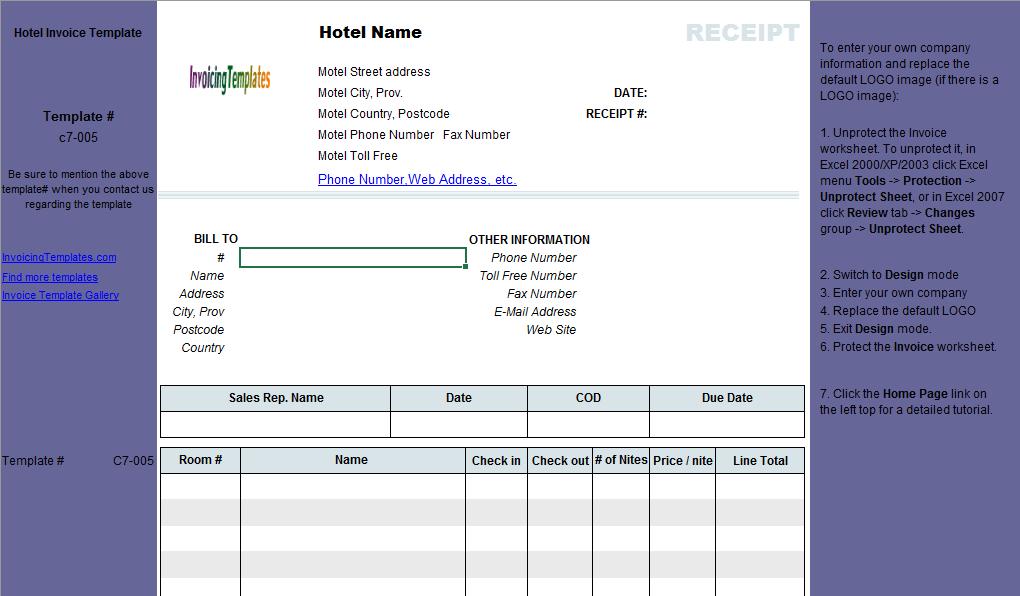 Free Hotel Receipt Template Receipt Template Templates Invoice Template