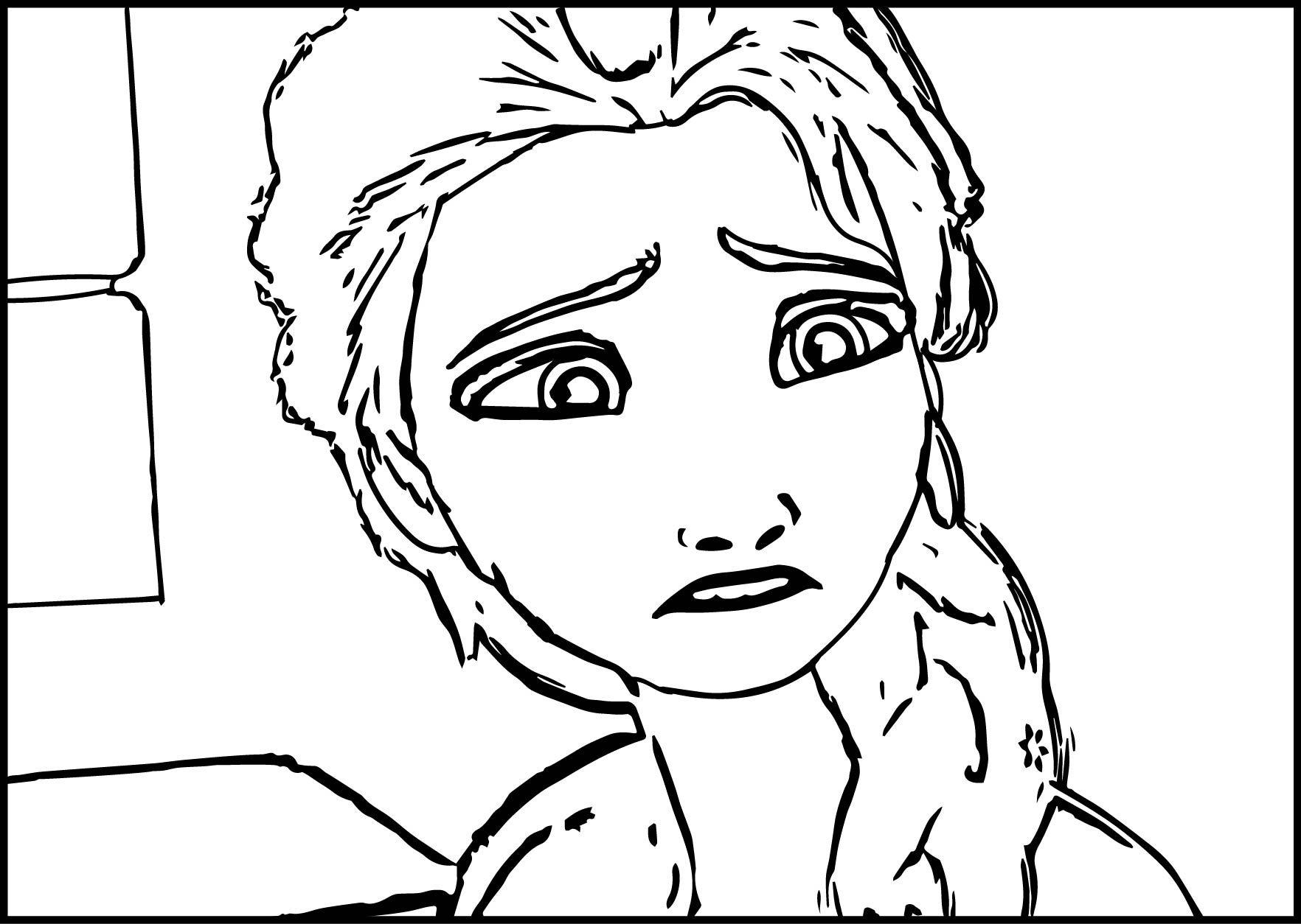 Elsa Frozen Sad Coloring Page