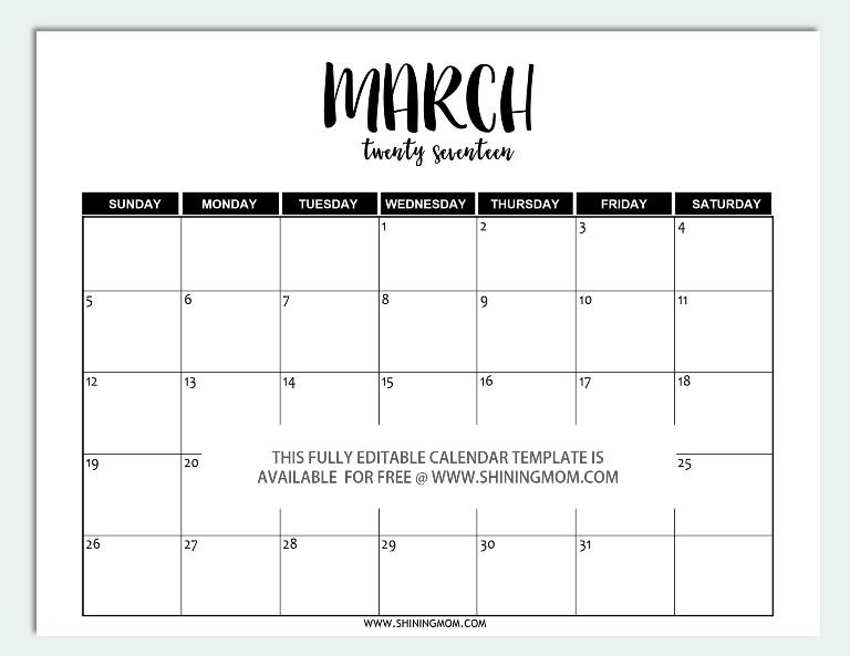 march 2017 editable calendar in word