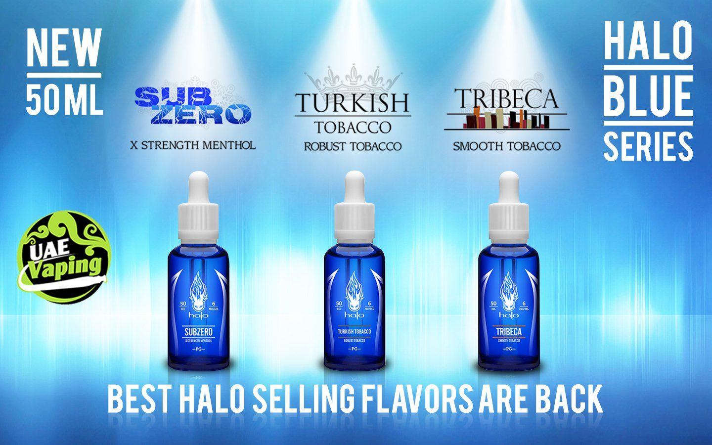 Halo branded E juices by UAE Vaping are available for Dubai
