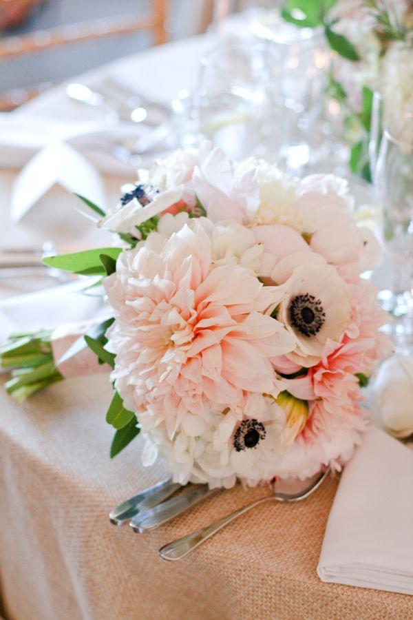 blush dahlia, anemone and hydrangea bouquet by Fiona ...