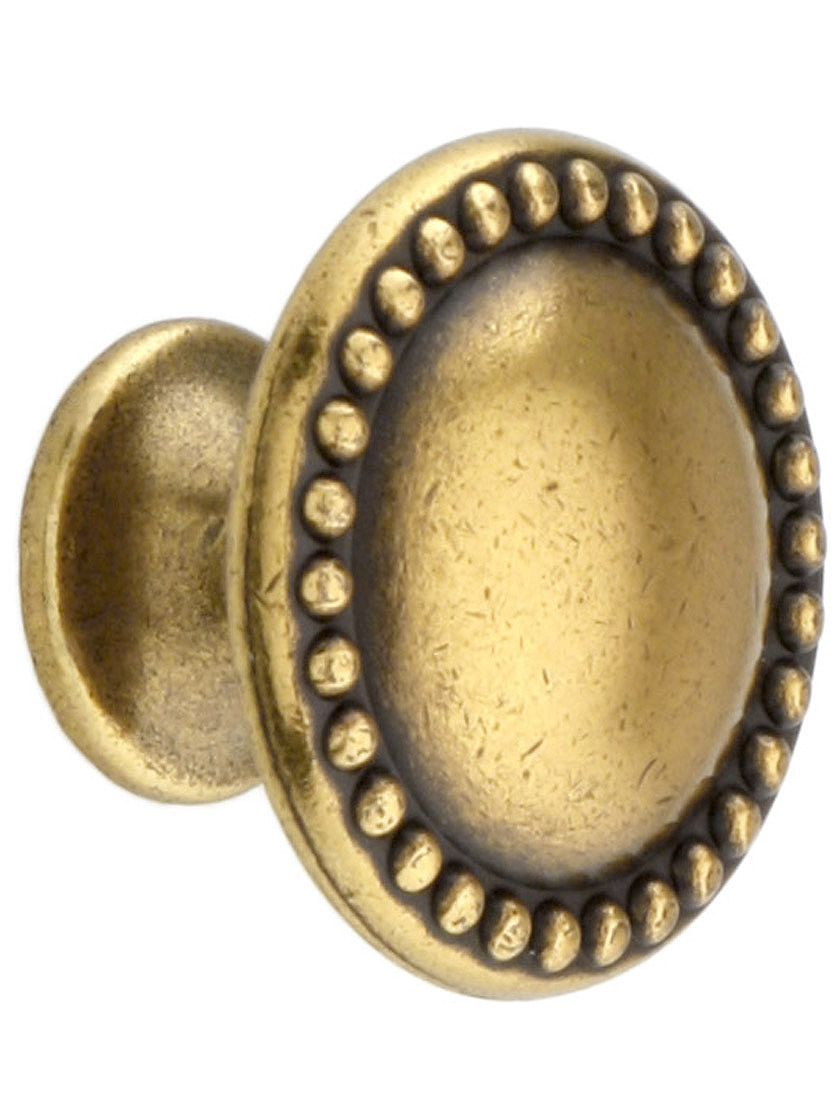 Antique furniture hardware beaded round cabinet knob with choice of finish