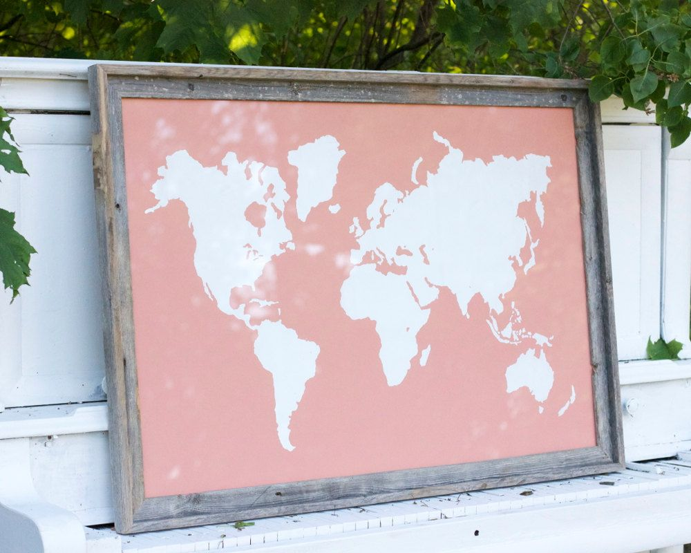 Frame Included - Giant Modern World Map Print Poster - 24x36 - Coral and White.