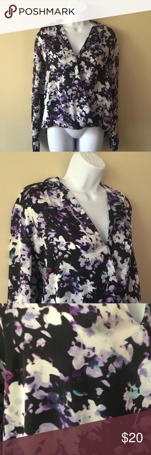 Apartment 9 Floral Blouse Shirt Top Purple Black In 2018 My Posh