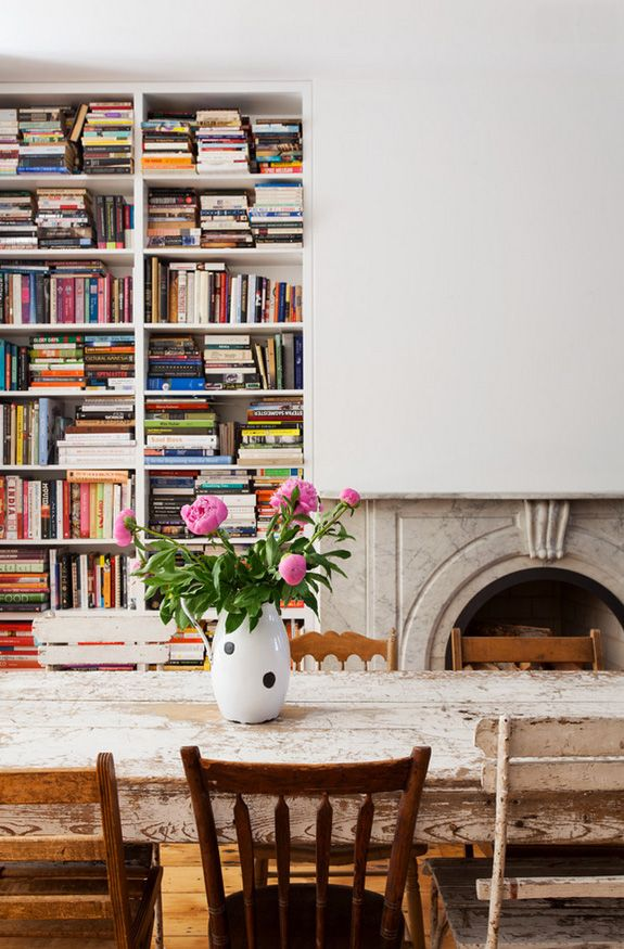 chic inspiration custom bookshelf. Custom bookcase filled with cookbooks and travel books A Brooklyn row house  desire to inspire desiretoinspire net Chic Inspiration Bookshelf Home Design Plan