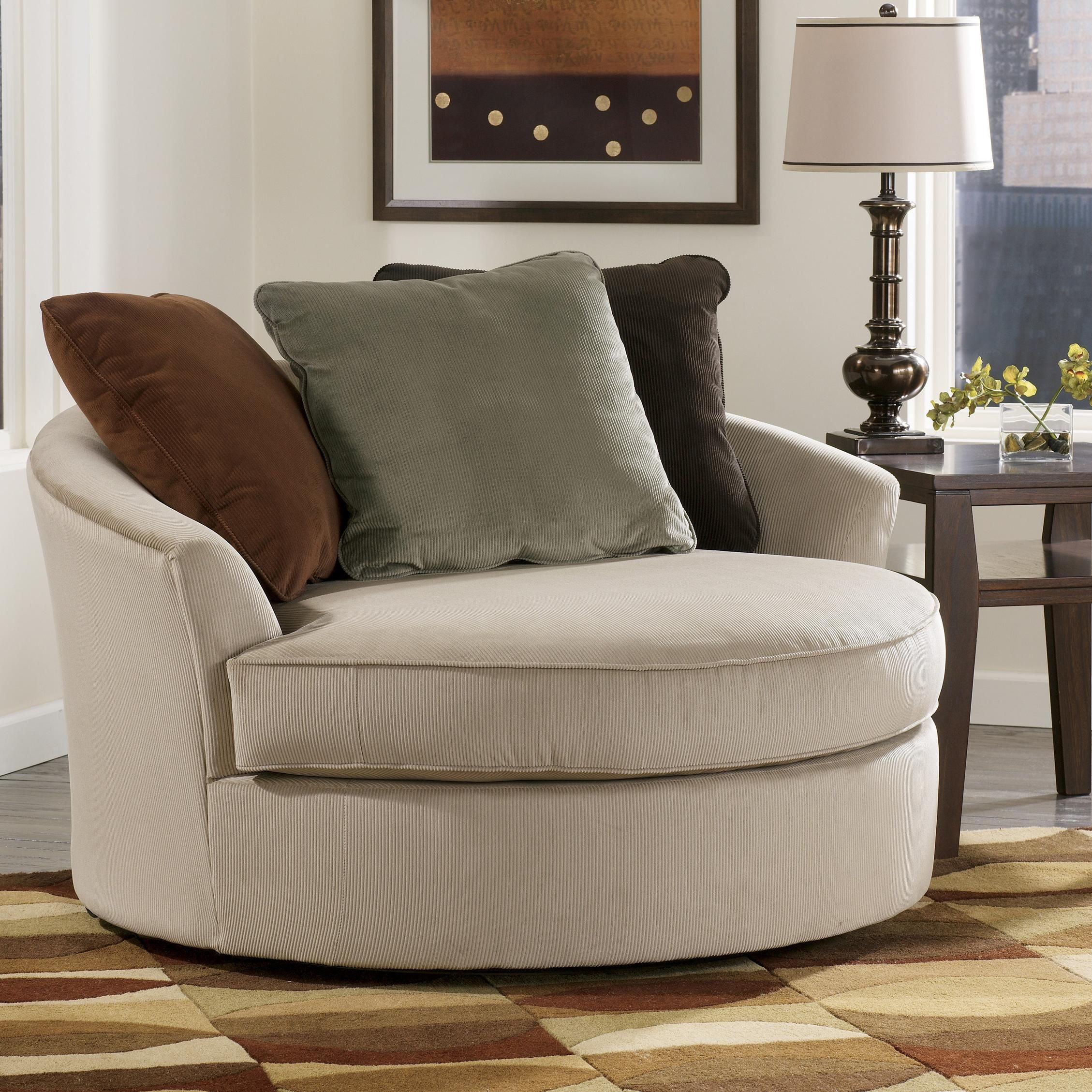 Comfortable chairs for living room - Laken Oversized Round Swivel Chair By Signature Design By Ashley Furniture Oversized Chairswivel Chairliving Room
