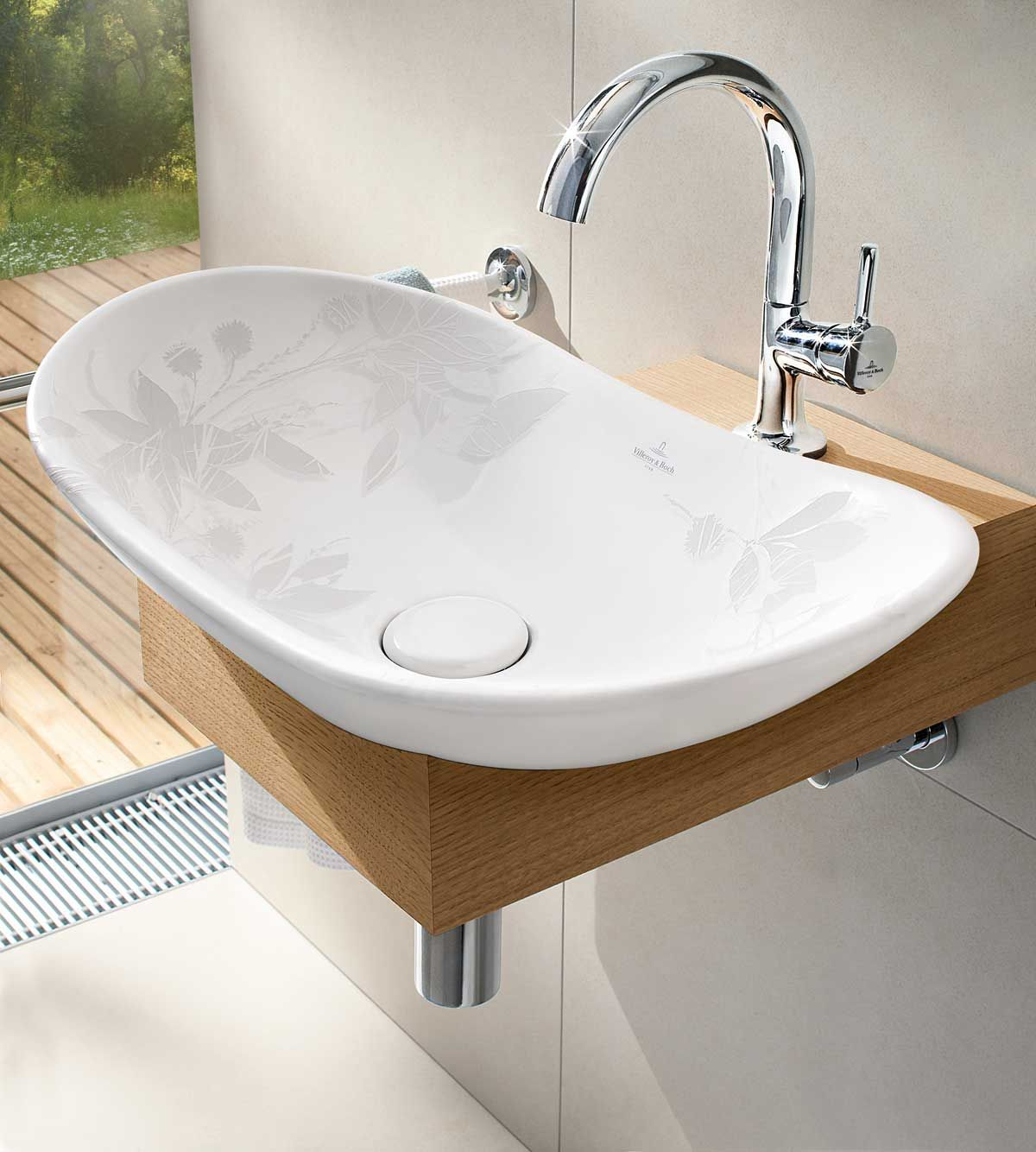 Villeroy and boch bathroom sink -  My Nature Basin By Villeroy Boch Welcomes Nature Into Your Bathrooms The Inside Of The Basin Has Image Of Chestnut Leaves And Blossoms