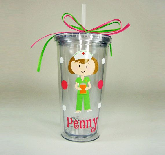 20 oz. Tumbler With Vinyl Decal Nurse, Straw And Personalized Name on Etsy, $16.00