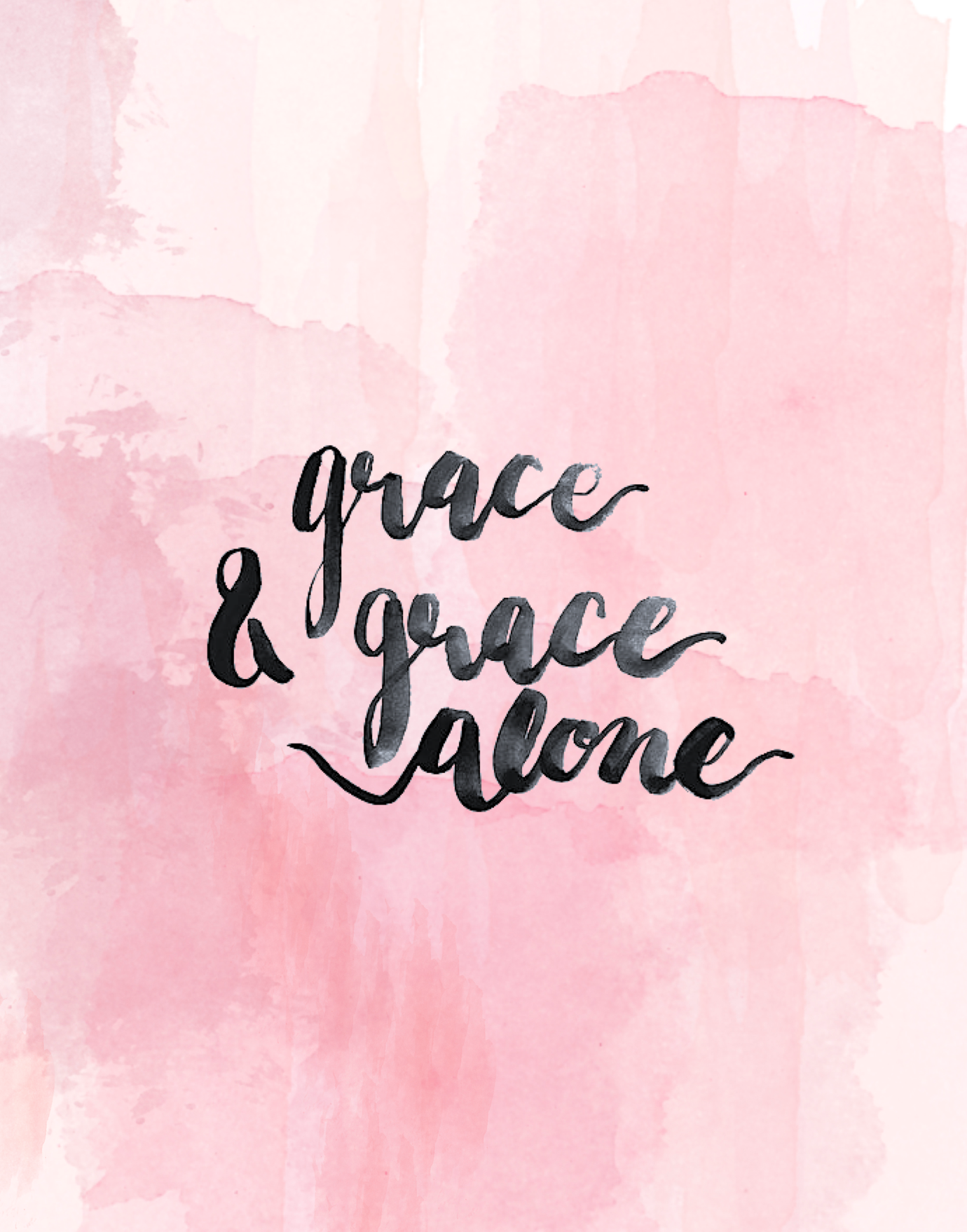 Grace Alone Pink Water Color Background