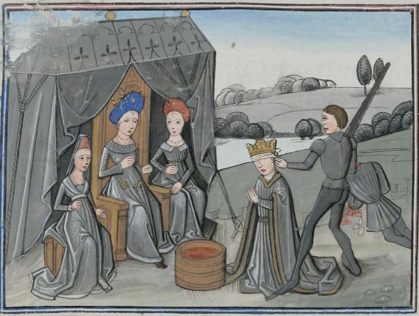 """Tomyris, queen of the Amazons, with King Cyrus and a bucket with blood"", Epitre d'Othea, by Christine of Pizan -- Cod. Bodmer 49, 87r (Cologny, Fondation Martin Bodmer)"