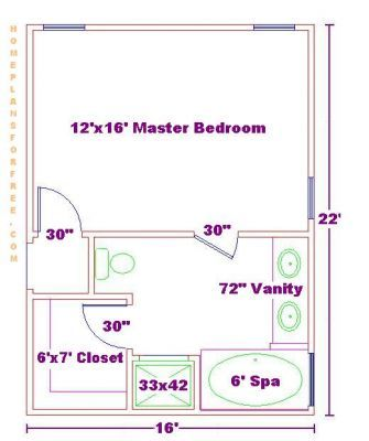 Narrow master suite layout master bedroom ideas design for Master bathroom floor plans 10x12