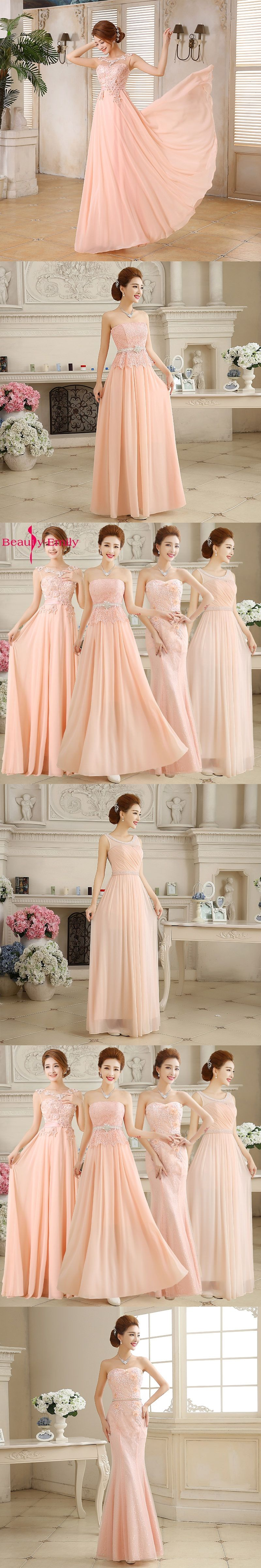 Beauty-Emily Pink Wedding Party Lace Bridesmaid Dresses 2017 Long Vestidos  De Noiva Winter Dress 6fcc0c8c5309