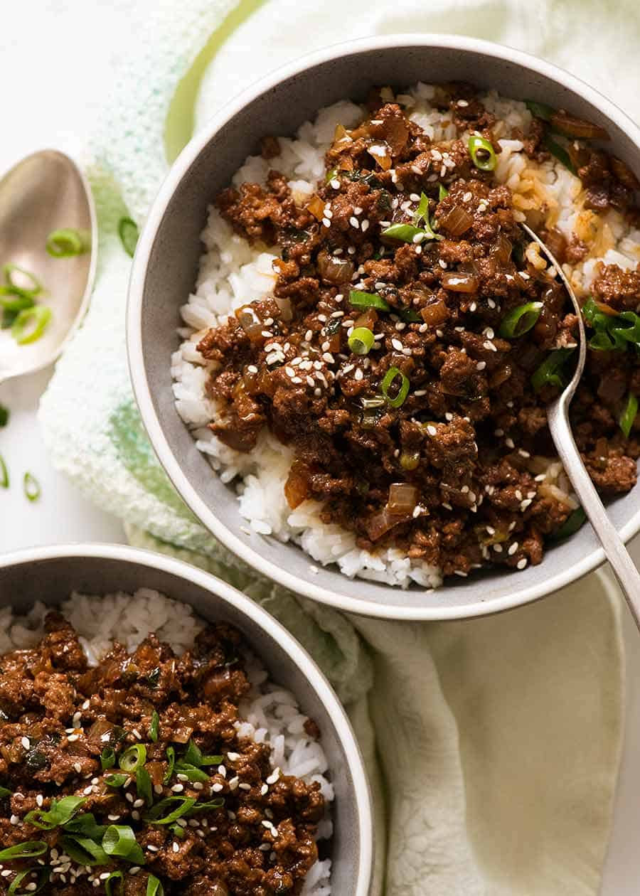 Asian Beef Bowls Super Quick Recipe Asian Beef Minced Beef Recipes Beef Bowls