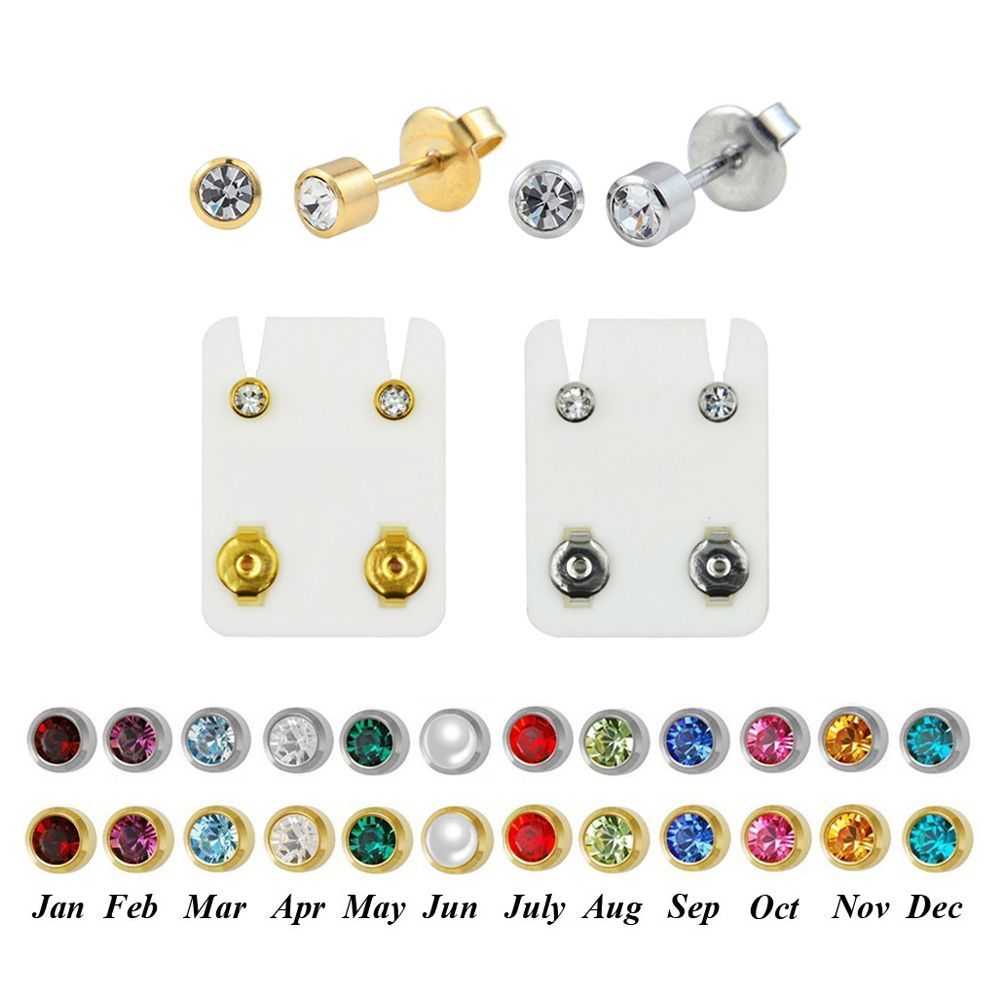 Studex Birthstone Gold Bezel Ear Piercing Studs Regular//Large Size Brand New