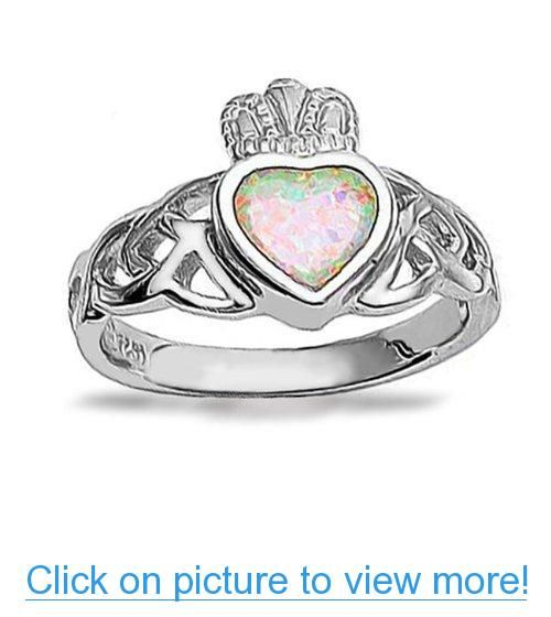 Bling Jewelry 925 Sterling Silver Claddagh Opal Gemstone Heart Ring 81cs8QF