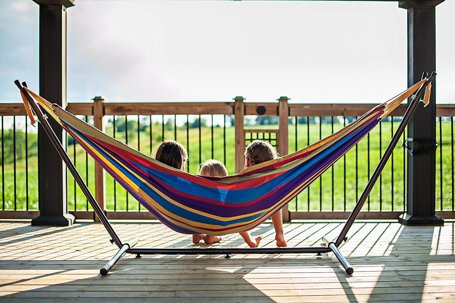 Vivere double hammock with spacesaving steel stand outdoor patio