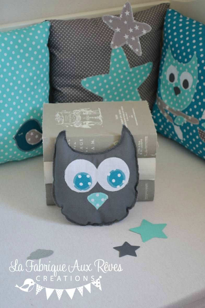 doudou coussin hibou turquoise gris d coration chambre. Black Bedroom Furniture Sets. Home Design Ideas