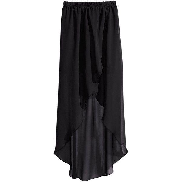 275f5cebf H&M Wraparound chiffon skirt ($17) ❤ liked on Polyvore featuring skirts,  black, maxi skirts, bottoms, short skirts, long chiffon skirt, long skirts,  ...