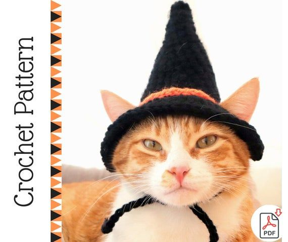 Crochet Pattern Witch Hat For Cats Pdf Instructions For Cat Witch Hat Costume With Chin Straps Ear Holes Crochet Halloween Idea Of Cats Crochet Cat Hat Crochet Cat Cat Hat Pattern