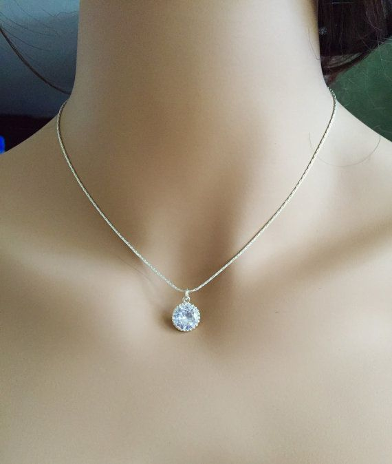Single diamond necklace one stone necklace by elegantavenues single diamond necklace one stone necklace diamond pendant necklace single gem necklace diamond solitaire necklace cubic zirconia necklace aloadofball Image collections