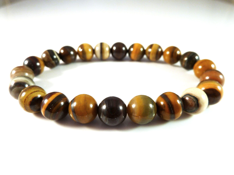Fine Gemstone Bracelets Genuine Tiger Eye Stone 8mm Stretch Bracelet Jewelry & Watches