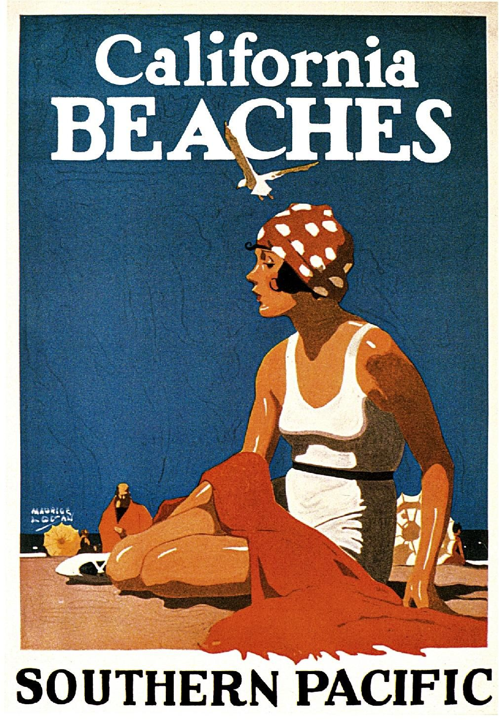 California Beaches travel poster for Southern Pacific, 1923 Artist Maurice Logan