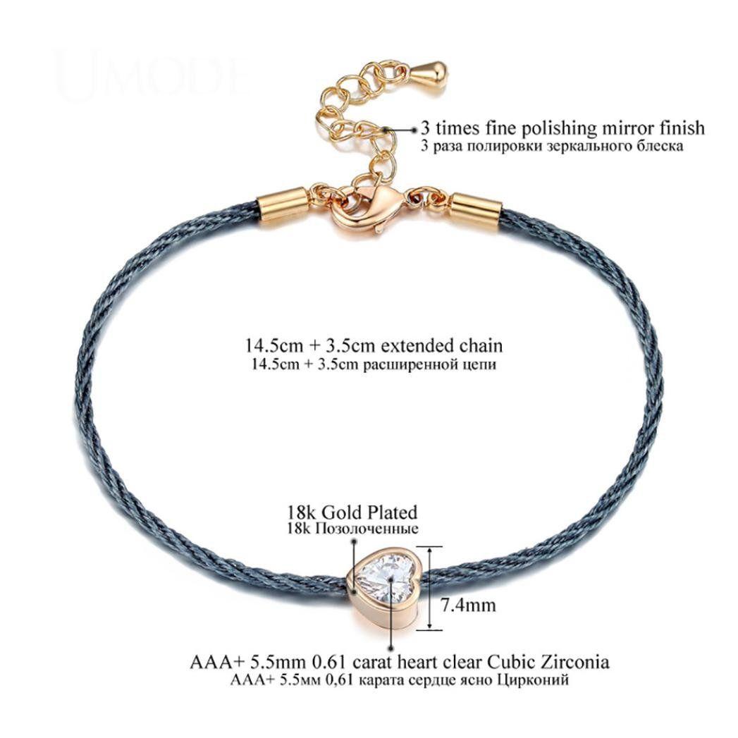 Fheaven women charm love heart chain rope bracelet rose gold