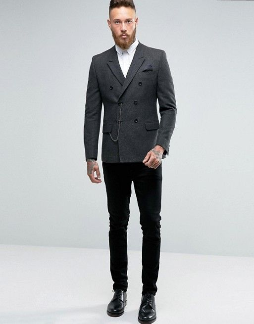 814072b9bbf7 Discover Fashion Online Chevron Gris, Double Breasted Blazer, Herringbone,  Men Dress, Fashion