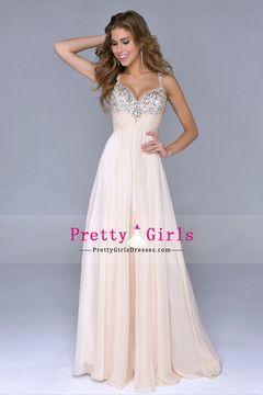 2014 Petite Size Prom Dresses Straps Floor Length A Line Zipper Up Sleeveless Chiffon With Rhinestones
