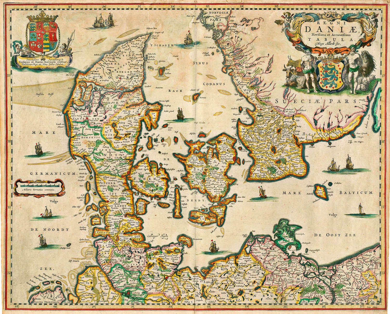 Regni Daniae Hugo Allardt Amsterdam 1665 Denmark Map