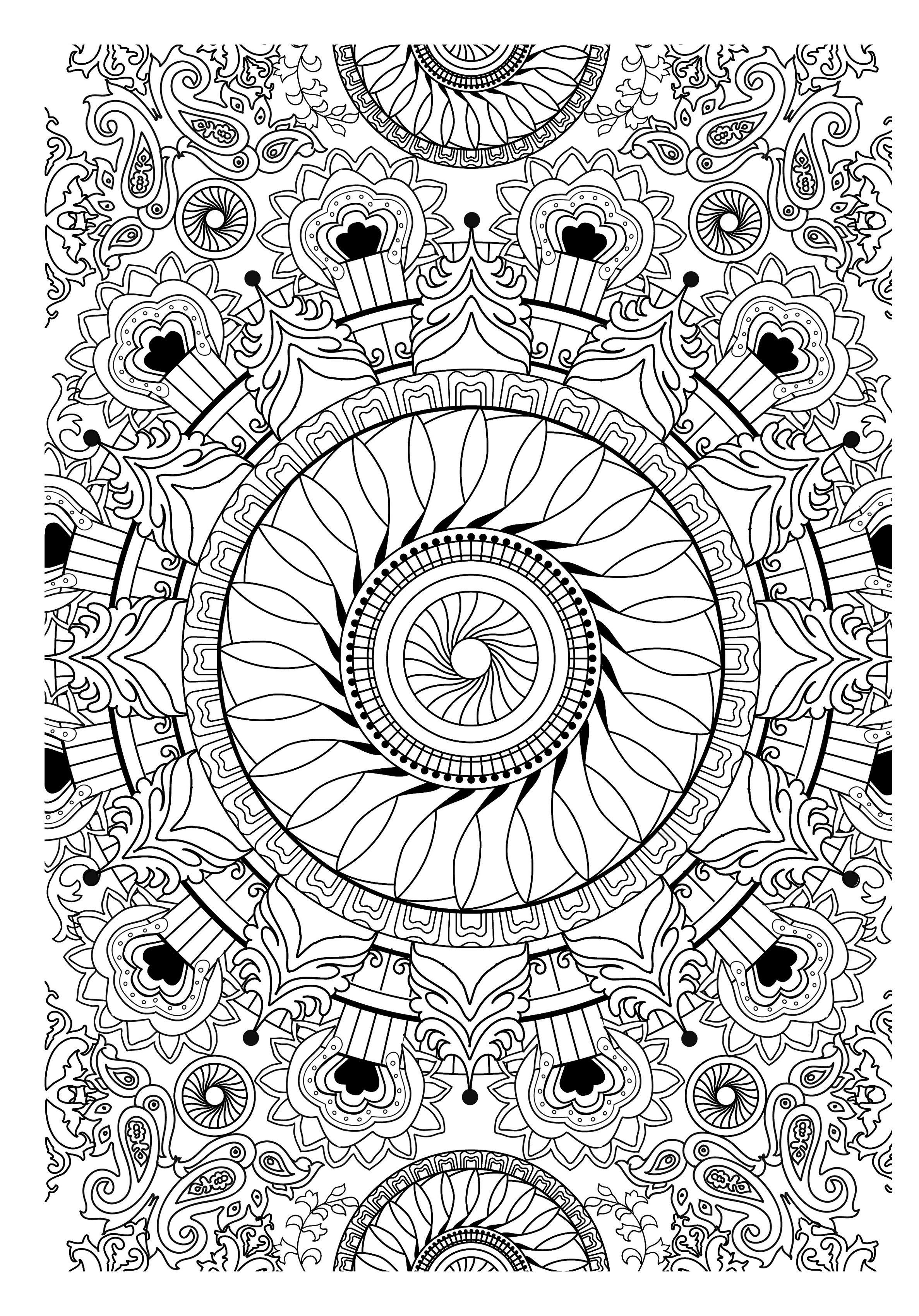Colorear para adultos : Mandalas - 31 - Esta imagen contiene : Flor ...