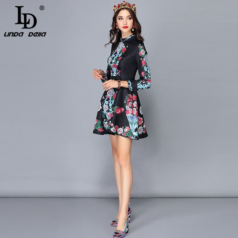 Runway Designer Autumn Dress Women s Long Sleeve Retro Floral Print  Jacquard Black Vintage Short Dress vestido 96a9029e7