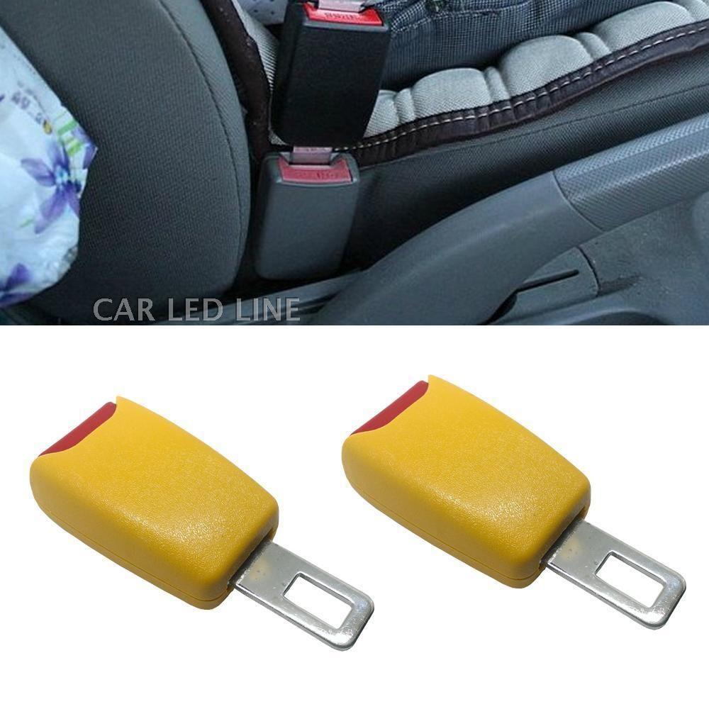 Yellow Car Seat Belt Extender Safety Eliminator Alarm Stopper Buckle Insert Clip