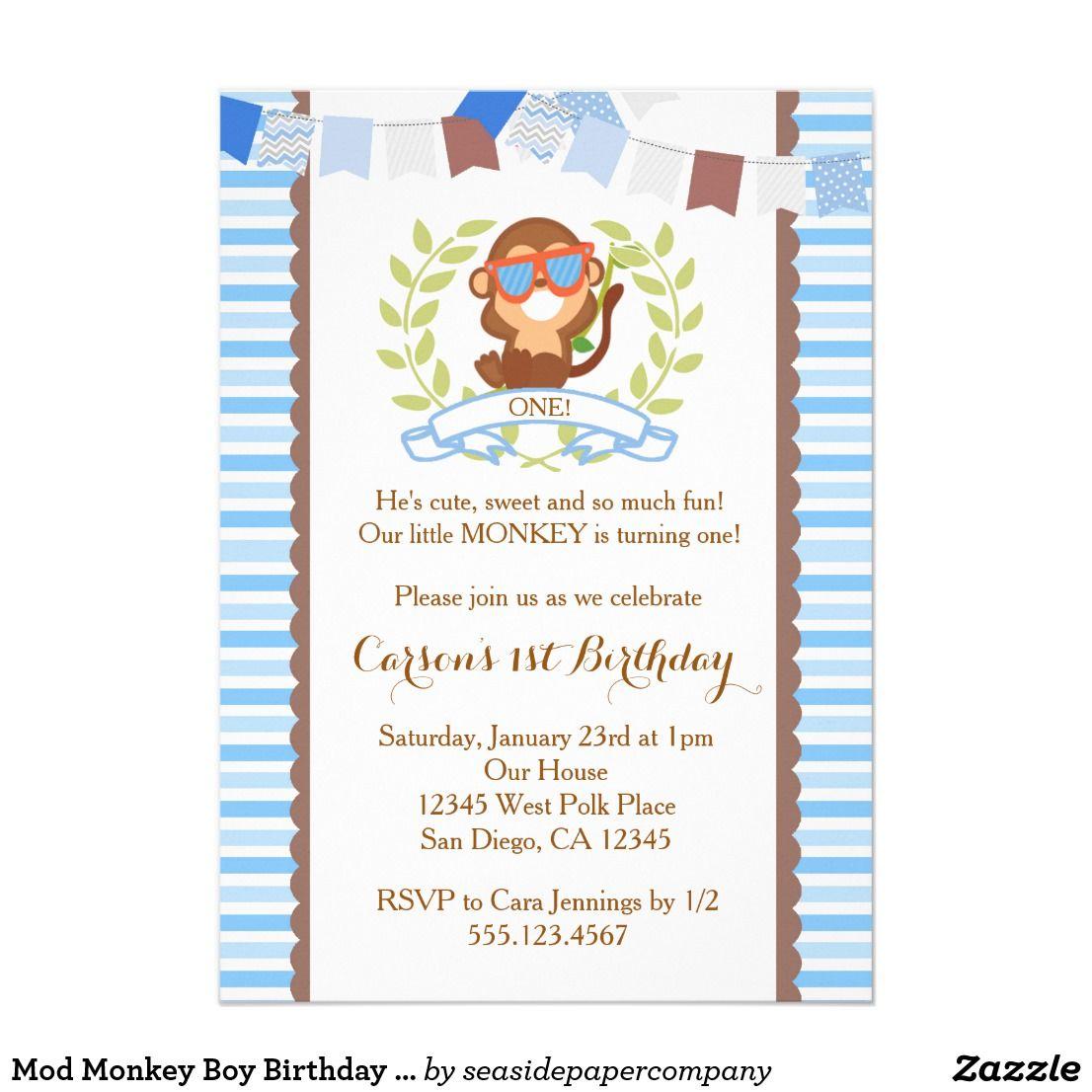 Mod Monkey Boy Birthday Invitation | Mod monkey, Boy birthday and ...
