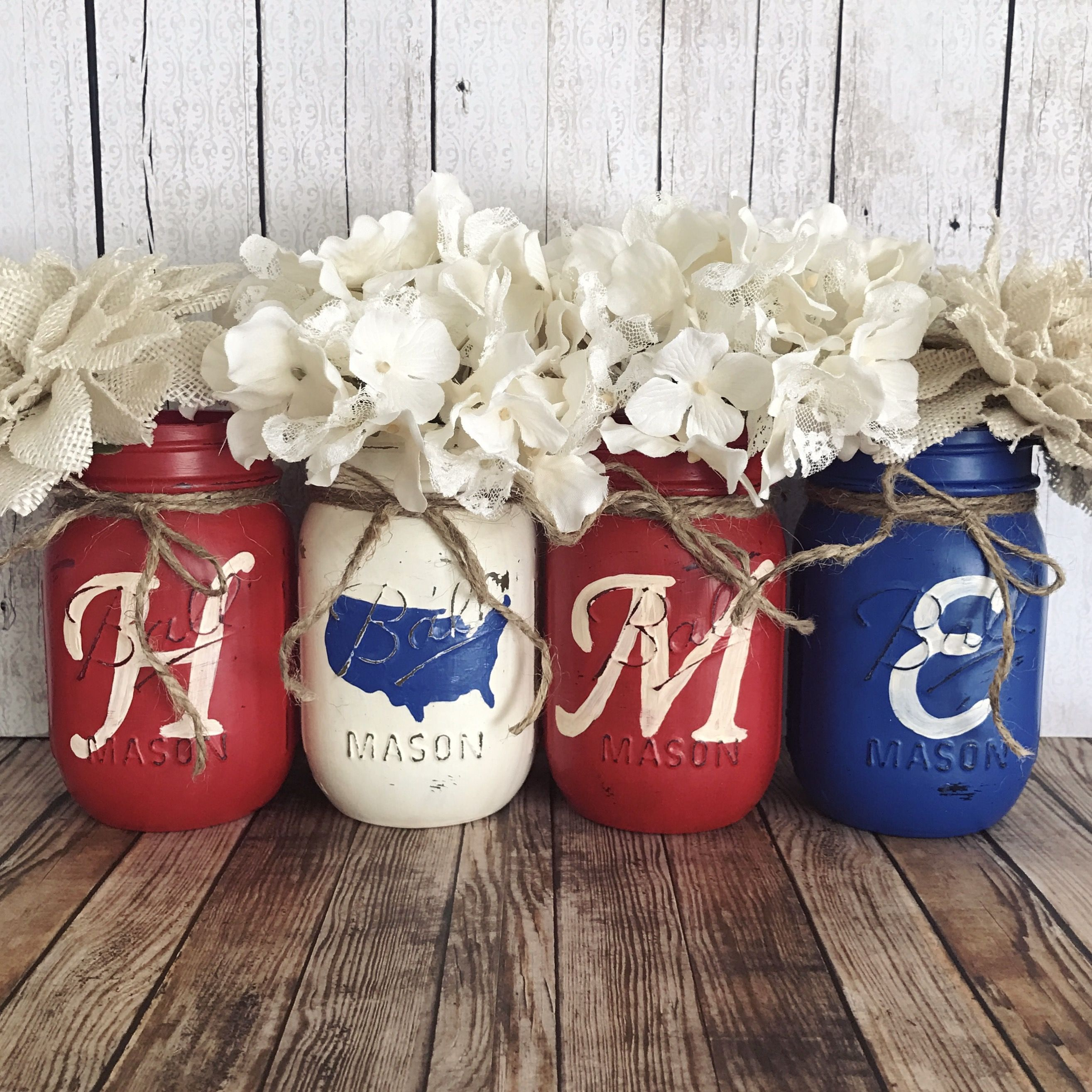 Home america mason jar set rustic home decor red white and blue