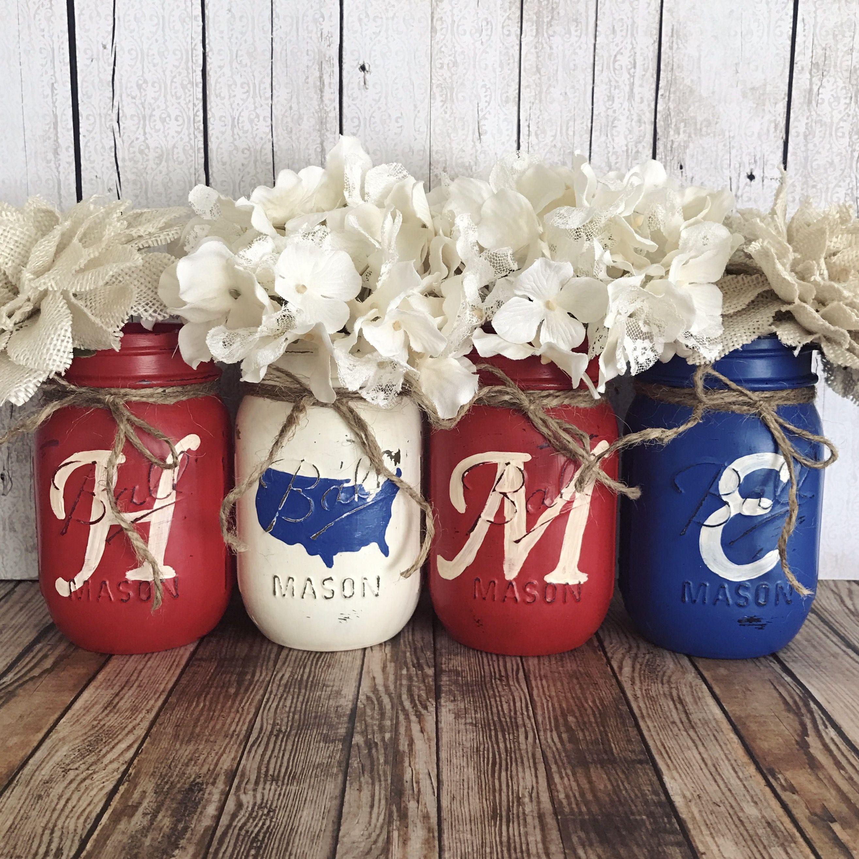 Best Home America Mason Jar Set Rustic Home Decor Red White 640 x 480